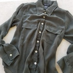 About A Girl Olive Green Sheer Blouse